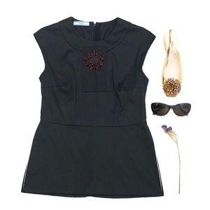 Prada Floral Black Side-Cut Blouse Top